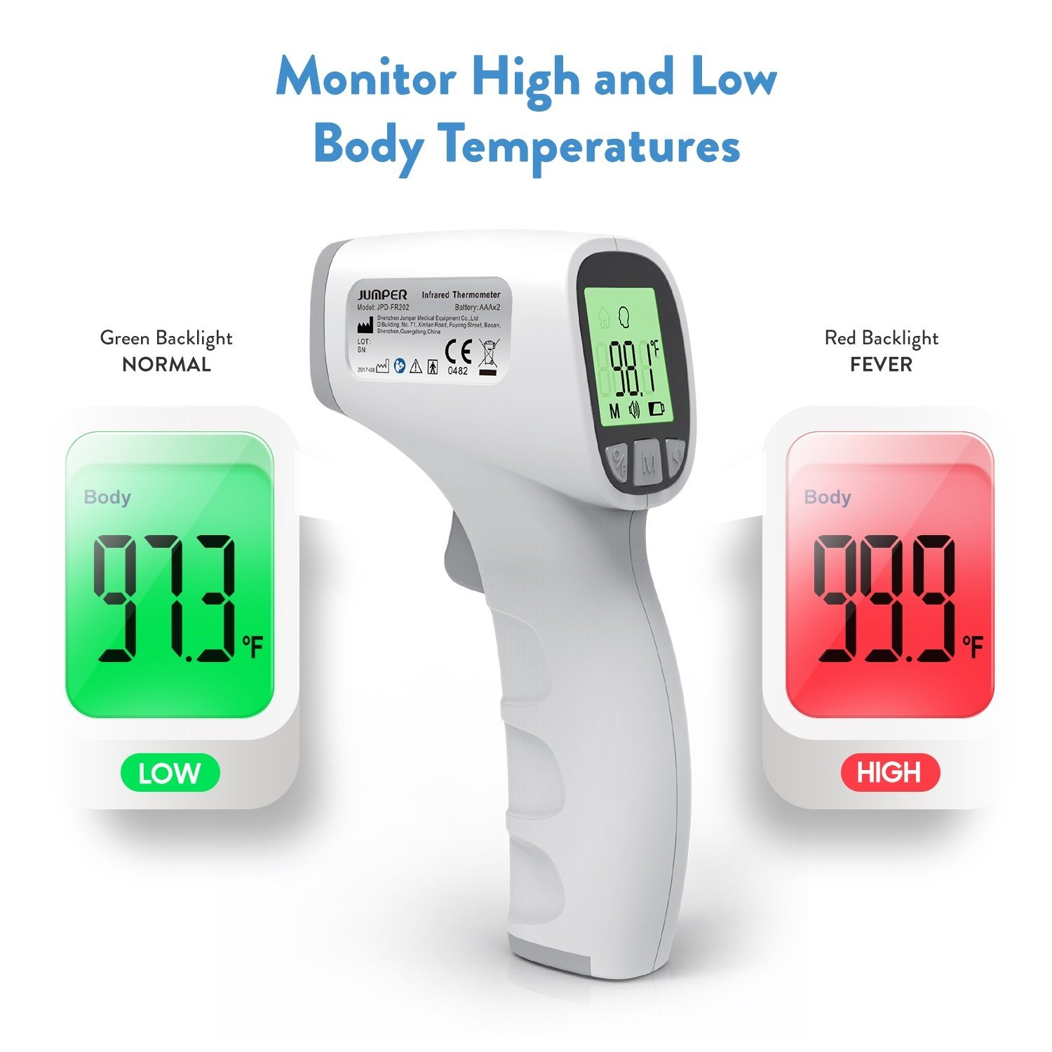 AccuMed Jumper Non-Contact Infrared Thermometer for Forehead   USA